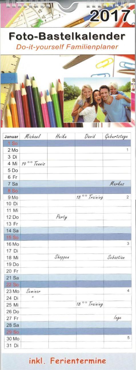 kalender 2017 familienplaner bastelkalender xl zum selber. Black Bedroom Furniture Sets. Home Design Ideas