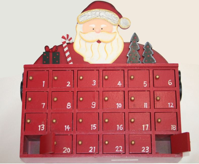 adventskalender zum bef llen aus holz im weihnachtsmann. Black Bedroom Furniture Sets. Home Design Ideas