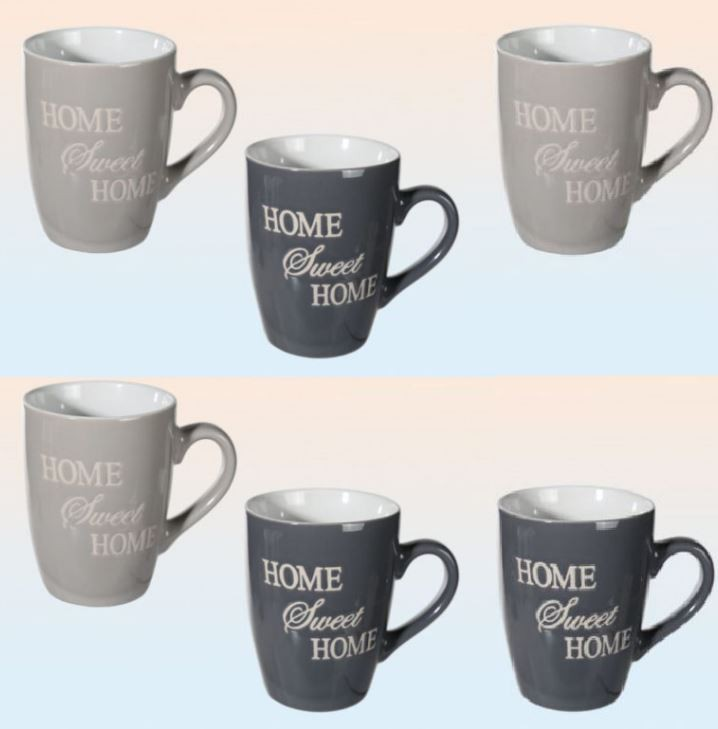 kaffeebecher grau gl nzend mit home sweet home schrift grau 280 ml 6 st ck k che haushalt. Black Bedroom Furniture Sets. Home Design Ideas