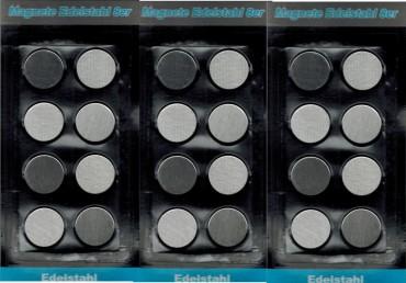 magnete edelstahl runde form 2 5 cm f r k hlschrank. Black Bedroom Furniture Sets. Home Design Ideas